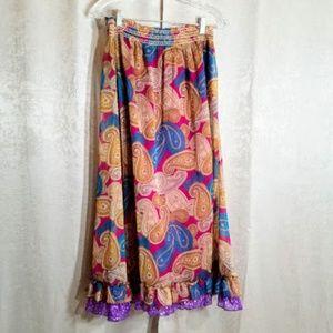 Derek Heart Maxi Boho Skirt sz S NWT Paisley